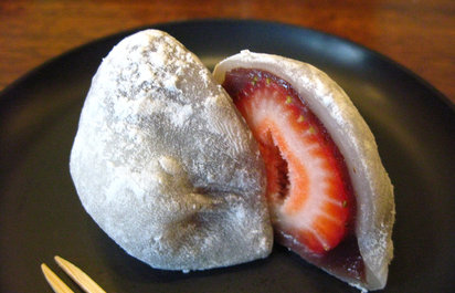 Homemade Strawberry Mochi at Eiji